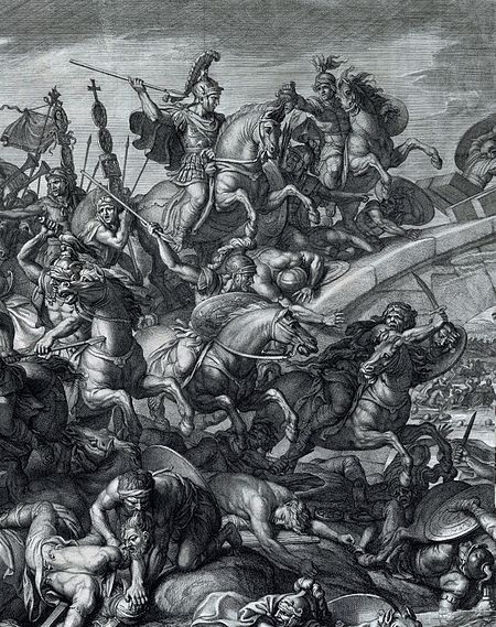 312-10-28-450px-Battle_at_the_Milvian_Bridge,_Gérard_Audran_after_Charles_Le_Brun,_1666-crop